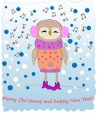 Ð¡ute owl listening music. Merry Christmas. royalty free illustration