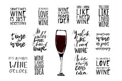 Basic RGB. Wine set illustration. Hand lettering and custom typography for your designs stock illustration