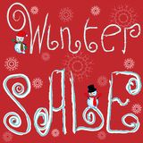 Winter Sale poster, banner or flyer with snowman. vector illustration