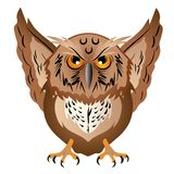 Wise owl with the big head, a sharp beak and predatory claws. vector illustration