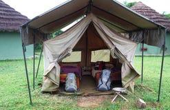 Basic Safari Tent Setup. A basic canvas safari tent setup with two beds stock photography