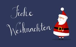 Santa Claus Vector with `Merry Christmas` wishes as `Frohe Weihnachten` In german language on the right. Basic Santa Claus Vector with `Merry Christmas` wishes Stock Images