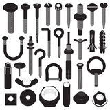 Basic Screws and Nuts Collection Stock Photography