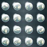 Basic set of transparent glass buttons. Set of 16 shiny glass buttons for a control panel. Graphics are grouped and in several layers for easy editing. The file Stock Image