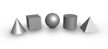 Basic Shapes. 3D render of five basic objects in silver metallic color Royalty Free Stock Images