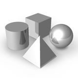 Basic Shapes. 3D render of four basic objects in silver metallic color Stock Photography