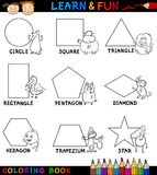 Basic Shapes with Animals for Coloring. Cartoon Coloring Book or Page Illustration of Basic Geometric Shapes with Captions and Animals Comic Characters for Royalty Free Stock Image