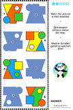 Basic shapes learning math visual puzzle. Educational math visual puzzle, basic shapes learning themed: Match the pictures to their shadows. Answer included Royalty Free Stock Photos
