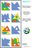 Basic shapes learning math visual puzzle. Educational math visual puzzle, basic shapes learning themed: Match the pictures to their shadows. Answer included Royalty Free Stock Photography