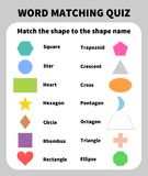 Basic Shapes Matching Quiz. Learning 2D shapes for children Royalty Free Stock Images