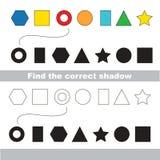 Basic shapes set. Find correct shadow. Stock Images