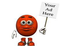 Basic Sign. A bright red smiling emoticon holding a sign just right for your ad.  Computer Generated Image, 3D models Stock Photography