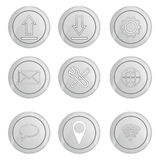 Basic silver internet icons set Stock Photos