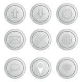 Basic silver internet icons set. Basic silver metallic internet related icons set Stock Photos