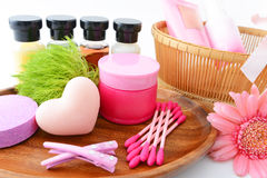 Basic skin care items Stock Photography