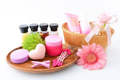 Basic skin care items royalty free stock photo