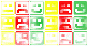 Basic Smilies Symbols Patchwork of Color Dots Royalty Free Stock Photos