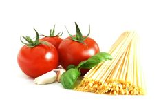 Basic spaghetti. Close up of basic ingredient for italian spaghetti Stock Photo