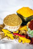 Basic spices of Indian food. Close up of three basic spices of Indian Asian food that are red pepper powder, turmeric powder and Dried coriander seed powder  on Royalty Free Stock Image