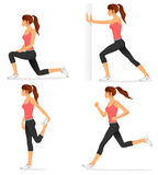 Basic stretching exercises related to jogging Royalty Free Stock Images