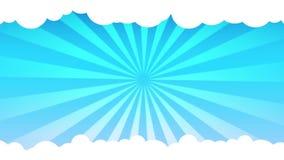 Basic sunburst blue sky and moving stock video