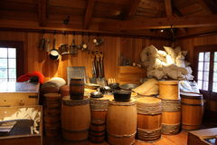 Basic Supplies. The basic needs of settlers in the 1850's.  Fort Langley National Historic Site, British Columbia Stock Photo