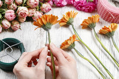 Basic techniques of arranging flowers Royalty Free Stock Photos