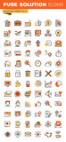 Basic thin line flat design web icons collection Stock Image