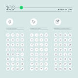Basic thin line web icons collection Stock Photos