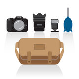 Basic things in camera bag Royalty Free Stock Image