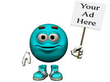 Basic Turquoise Sign. A bright turquoise smiling emoticon holding a sign just right for your ad.  Computer Generated Image, 3D models Stock Photo