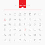 Basic, universal, interface, media and more. Thin and line icons Stock Photo