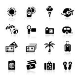 Basic - Vacation icons. 16 vacation and travel icons set Royalty Free Stock Photo