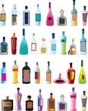 Basic vector alcohol bottles. No brand no logo bar necessity vector illustration
