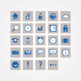 Basic vector icon pack. Modern design icons for website or prese. Ntation. Sizable and editable vector icons. Symbols for communication, travelling and basic Stock Photos
