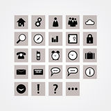 Basic vector icon pack. Modern design icons for website or prese. Ntation. Sizable and editable vector icons. Symbols for communication, travelling and basic Royalty Free Stock Photo