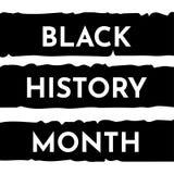 Basic Vector illustration with black stripes background. Black history month. Vector illustration with black stripes background and white text. Black history royalty free illustration