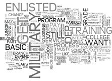Basic View On How To Get Enlisted In The Us Military Word Cloud Stock Images