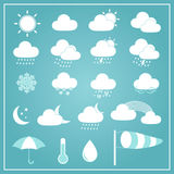 Basic Weather Icons on Blue Background Stock Images