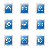 Basic web icons. Vector web icons, blue glossy stamp series, V2