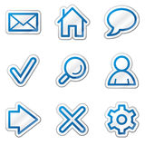 Basic web icons, blue contour sticker series. Vector web icons. Easy to edit, scale and colorize royalty free illustration