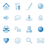 Basic web icons, blue series. Vector web icons, business, finance, computers series stock illustration