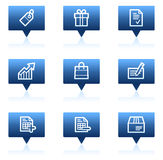 Basic web icons, blue speech bubbles series Stock Photos