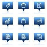 Basic web icons, blue speech bubbles series Stock Photos