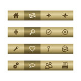 Basic web icons on bronze bar Stock Photos