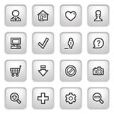 Basic web icons on gray buttons. Royalty Free Stock Photography