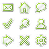 Basic web icons, green contour sticker series. Web icons set. Easy to edit, scale and colorize stock illustration