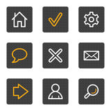 Basic web icons, grey buttons series Stock Photos