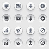 Basic web icons on white buttons. Set 2. Stock Photography