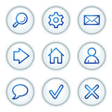 Basic web icons, white circle buttons series Stock Photos